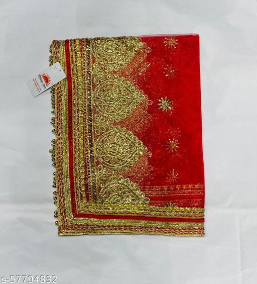 Women's Lace Border Floral Net Dupatta (Free Size)