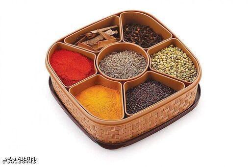 Spice Jar Set Masala Dani Container Rack Condiment Vatti Anjarai Petti for Kitchen