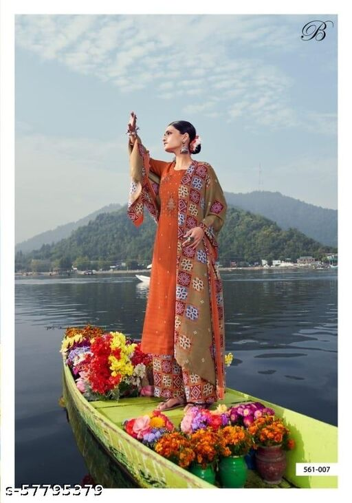 Winter Designer Patiala Suit- Orange Color With Print Shawl