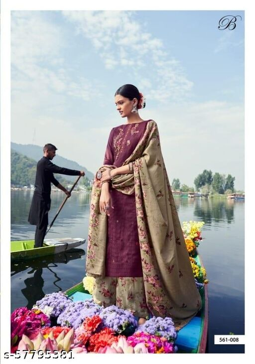 Winter Designer Patiala Suit - Wine Color With Print Shawl