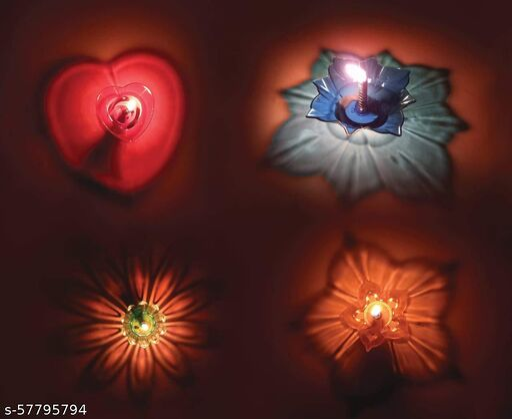 GTR 3D diva  Diwali Festival Diya ransparent Multicolor Reflections Plastic Diya Indoor Outdoor & 4 DIFFERENT Shape Shadow Floating Transparent Diya/Lantern Candle/Oil Lamps for Diwali Puja/Pooja Room, Decoration(Pack 12)