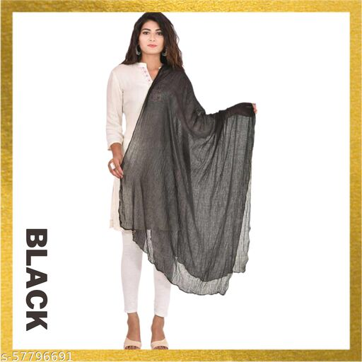 Cotton Febric Dupatta with Moti(Pearl) Border for Daily, Party, Wedding and Traditional Were (black)
