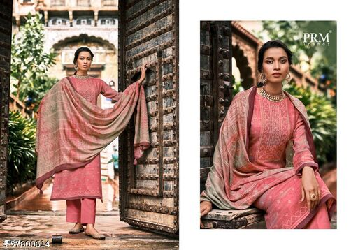 Pashmina Salwar Suit Neck Worked With Print Shawl-Pink Color