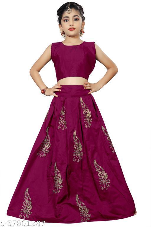Girl's Taffeta silk semi stichd Lehenga Choli (multi; Free Size) (13-14 Years