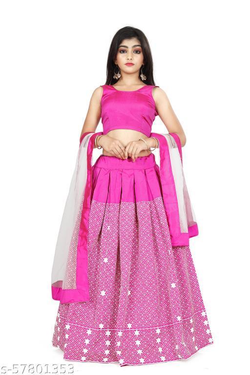 Girl's Taffeta silk semi stichd Lehenga Choli (multi; Free Size) (13-14 Years)