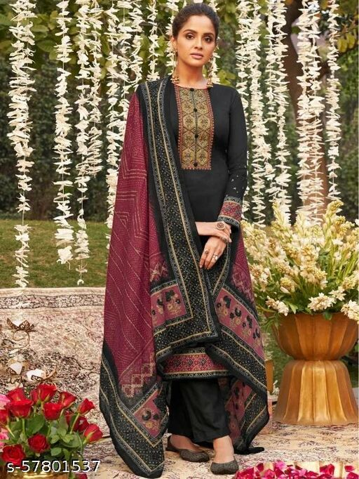 Brown Jam Satin Embroidered Un-Stitched Suit Set