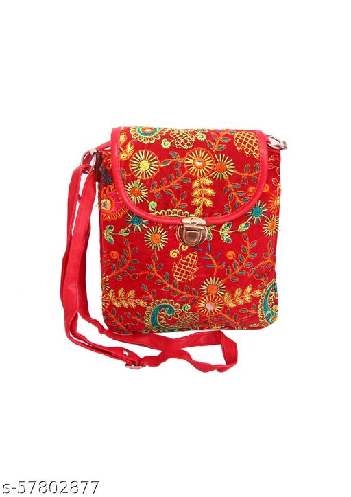 A.N Treasure Women's Cotton Handmade Designer Geometric Print Embroidery Patch Work Rajasthani Clutch Sling Bag