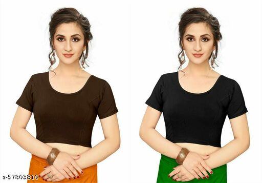 Cotton Stretch Lycra Round Neck Stretchable Readymade To Wear Saree Blouse With Short Sleeve