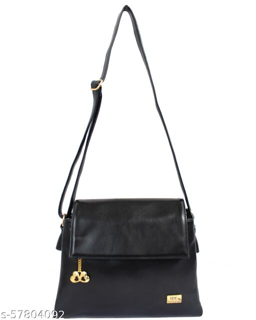 Leatherette Slingbags For Girls and Women (Black Color)