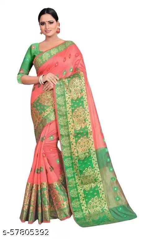 Lifestylie- banarasi light weight saree (baby pink)
