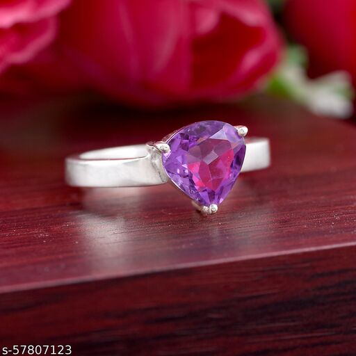 Amethyst Silver Plated Ring For Men And Women's Adjustable Ring Beautiful,Fancy, ring