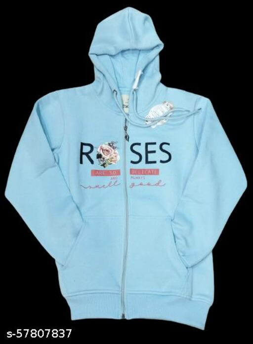 Stylish Aqua Blue Cotton Zipper Hoodie Jacket For Girls & Womens