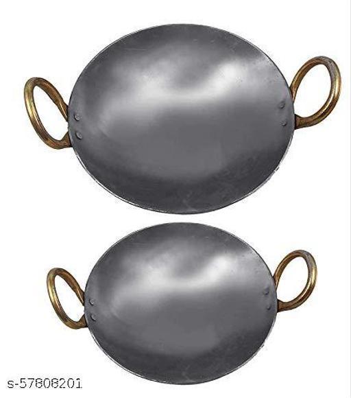 Anchal Kadhai Traditional Iron Kadai Combo: 2 Kadai of 2 Sizes (10 Inches, 12 inches Diameter).
