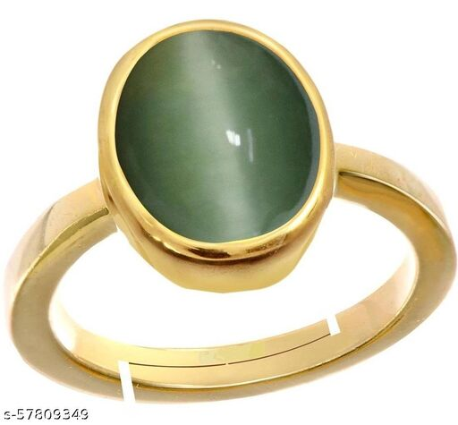 Cat's Eye Gold Plated Adjustable Ring For Men And women's
