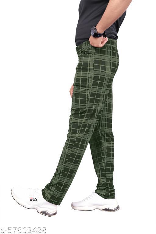 Men's Lycra Regular-Fit Track Pants - Olive