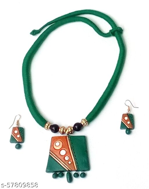 Elegance & U's Green, White, Saffron & Golden Necklace Set