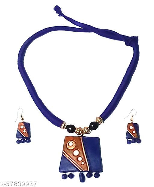 Elegance & U's Blue, White, Saffron & Golden Necklace Set