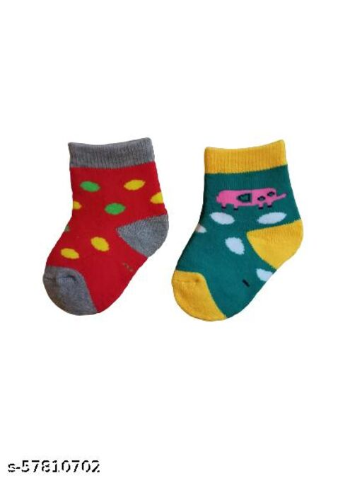 Baby Winter Cotton Socks for Kids, Girls and Boys 0-9 Months- Multicolor Combo Pack of 2)
