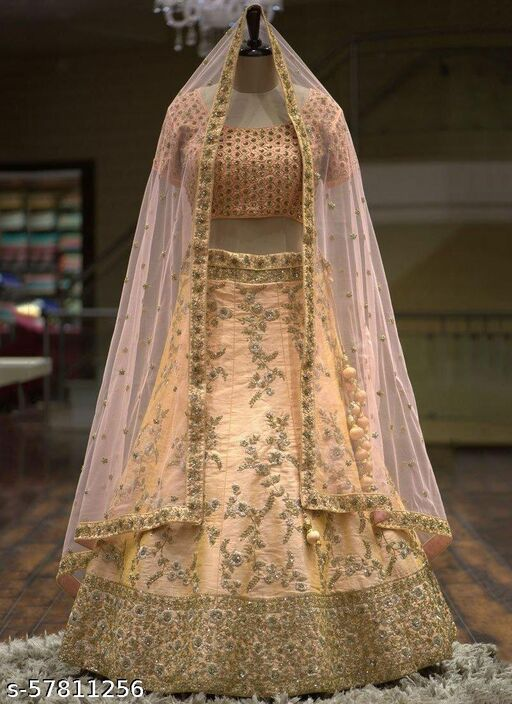 """""""Peach Color Party Wear & Gold Embroidery Work Peach Lehenga And Embroidery Work Net Dupatta"""