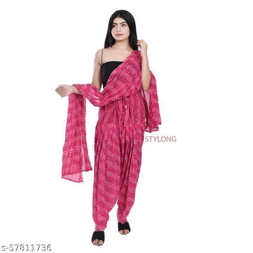 Jaipuri Womens Cotton Bandhani Printed Patiala Salwar With Matching Dupatta (Free Size) Pink