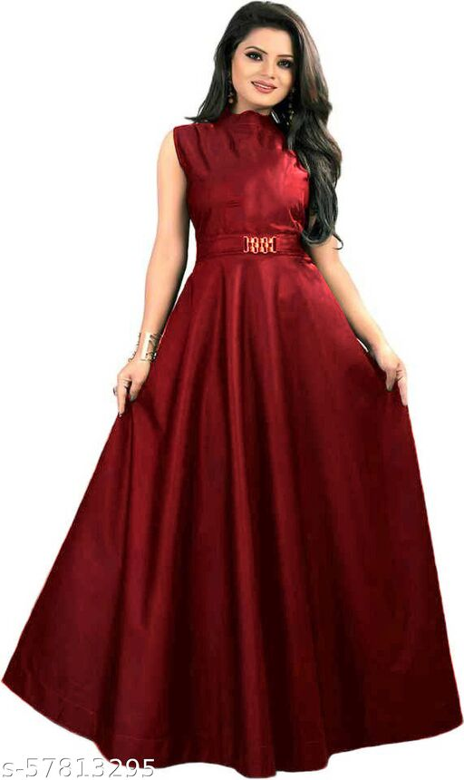Apparel Fort's Tafetta Fabric Red Color Gown