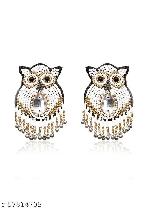 Handcrafted Owl earring Made Of Beads and Pearls
