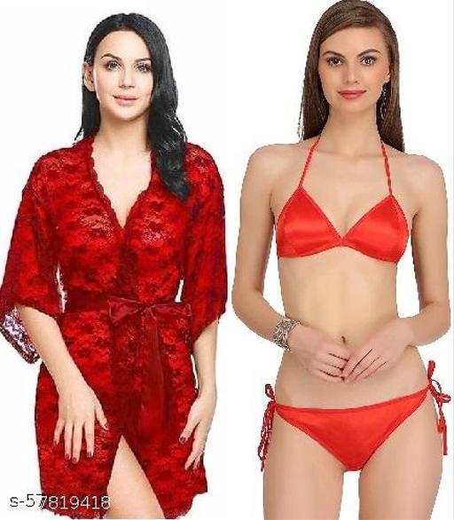 Women Sexy Lace Robe and Satin Lingerie Bikini Set (Bra-Panty Set)
