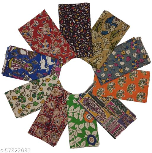 Stunning Collections Handmade Kalamkari Printed Cotton Unstitched Blouse Material for Women (Multi Colour, Pack of 10, 1 Meter)