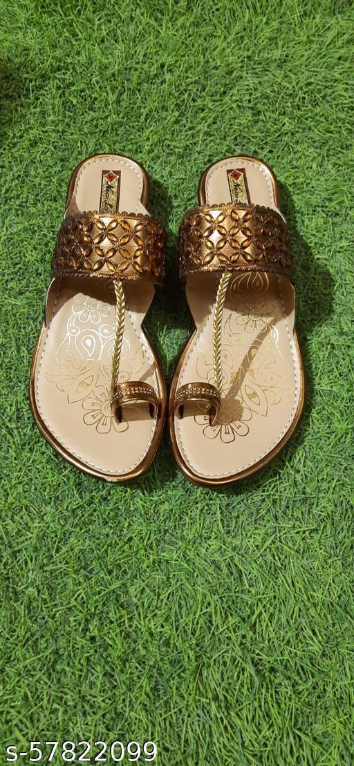 Women fancy gold kholapuri sandal