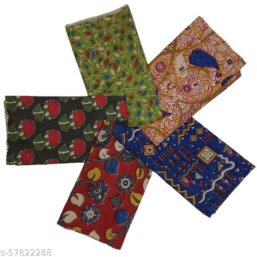Stunning Collections Handmade Kalamkari Printed Cotton Unstitched Blouse Material for Women (Multi Colour, Pack of 5, 1 Meter)