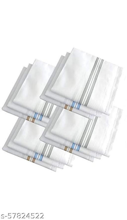 """Set of 12 pcs Premium Quality Hankies for Men's/ Boy's Pure Cotton White Colour With Border Hankies/ Hanky/ Handkerchief [""""White""""] Handkerchief  (Pack of 12)"""
