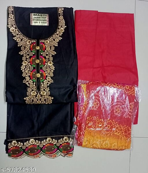 JAAM COTTON EMBROIDERY STONE WORK DRESS MATERIAL