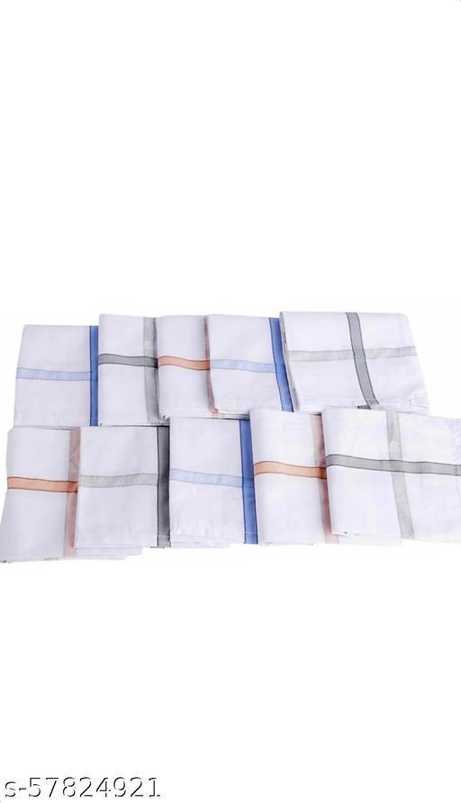 "100% Cotton Premium Collection Handkerchiefs Hanky For Men White Striped XXL King Size. [""White""] Handkerchief  pack of 12"