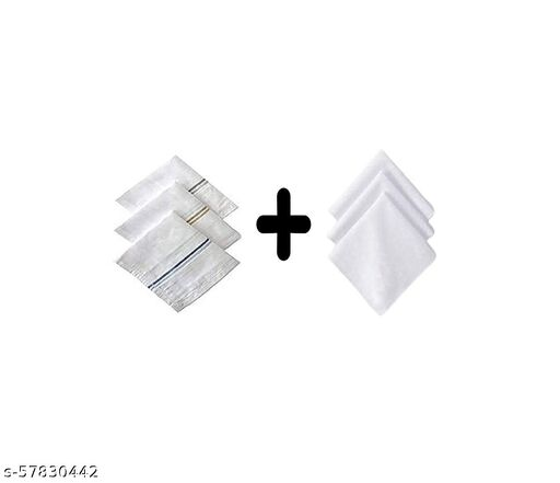 100% Cotton Premium Collection Handkerchiefs Hanky For Men (Combo White Color)(12 Pcs)