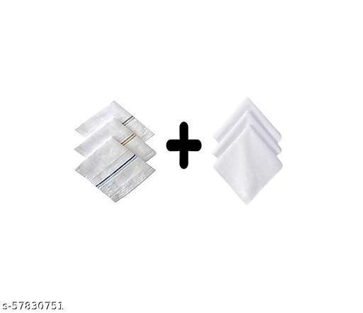 100% Cotton Premium Collection Handkerchiefs Hanky For Men (Combo White Color)(24 Pcs)