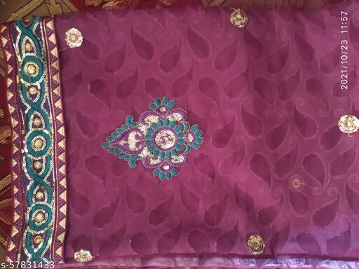 New Fancy Designer Net Fabric Marron Saree with Embroidery Work for Festival