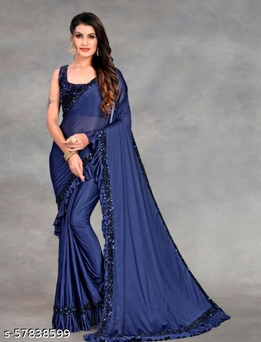 Lycra sequence Embroidered Saree ( Blue_ Free size)