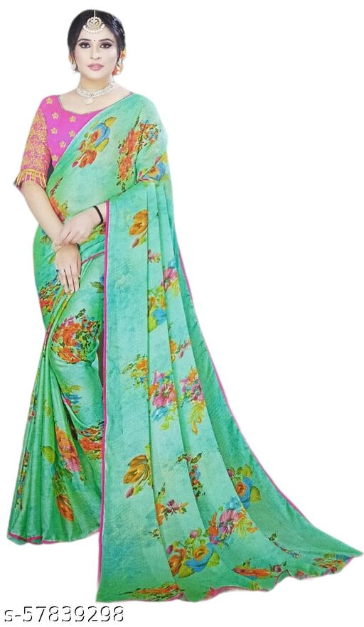Fancy soft chiffon Saree with unstitched Blouse