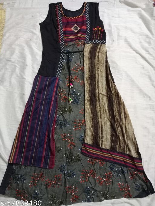 Long Kurti with Embroidery work. Short sleeve attached separately