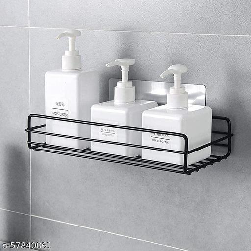 Self-Adhesive Metal Bathroom Rack Storage Shelves - Bathroom Storage Rack Corner, Bathroom Corner Shelf Organizer Storage, Bathroom Shelf/Shelves                                                                                                             Corner (Black) Pack of 2