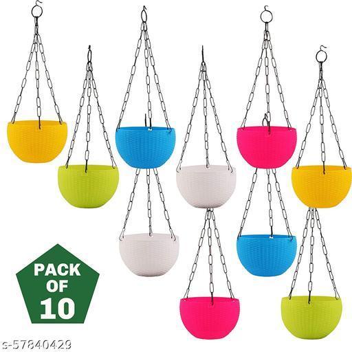 Euro Hanging Flower Pot Plastic Pot Plant Container Set (Multicolor, Pack of 10)