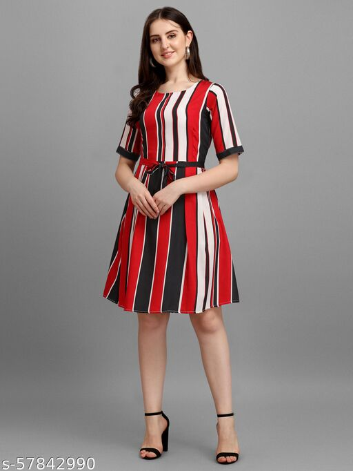 Women's Fit and Flare Multicolored Latest New A Line Dress With Waist Tie-ups (MADHAV ENTERPRISE)