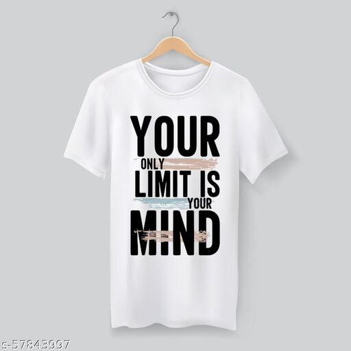 Your Limit is Your Mind Round Neck Polyester Men's White T-Shirt