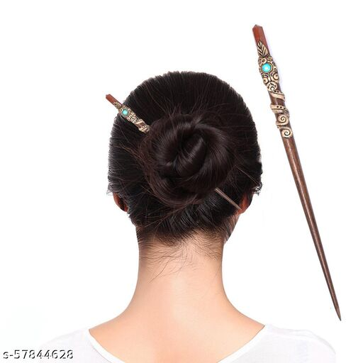 Hair Stick With Natural Crystal , Juda Pin gemstone , Crystal Hair Clip for Women, Handcrafted-Stick natural stone for Healing reiki 23cm (approx) (Red Jespar)