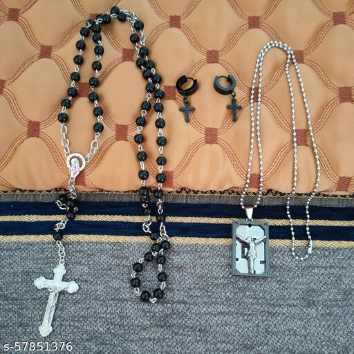 M Men Style Christmas Gift Rosary Jesus Cross Religious Jewellery Pendant Necklace Chain with Earrrings For Unisex