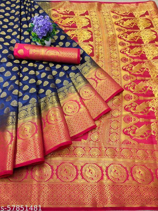 Vernieeva New Blue Colour Kanjeevaram Silk Sarees