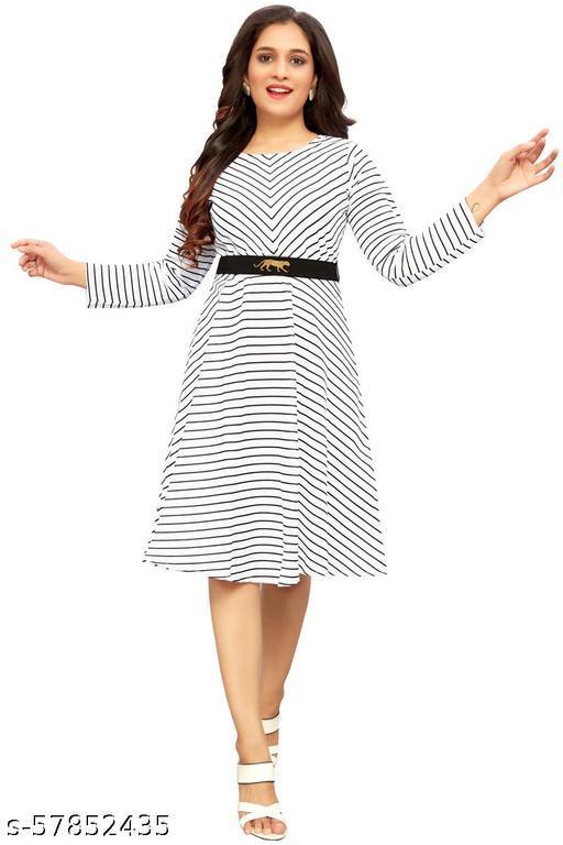 Morbrix  Women's Fit And Flare Fancy western cotton Midi Stripe Linning Dress