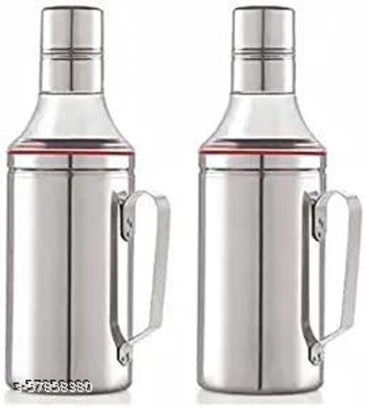 Happy Home Oil Dispenser Steel 1000ml   Stainless Steel Nozzle Oil Dispenser 1000ml With handle   oil Can   Oil Bottle with handle Silver Finish, Pack of 2