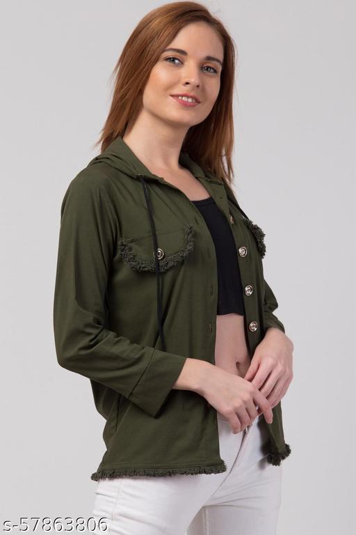 Women Regular Fit Solid Hood Collar Casual Shirt