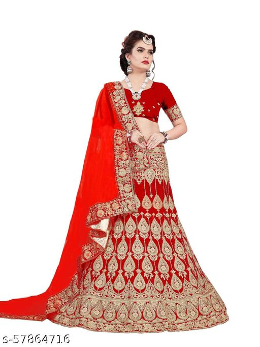 Fancy Satin Lehenga designer latest outfit (Pack Of 1, Red)
